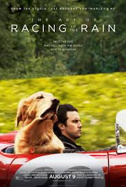 Movie Poster for The Art of Racing in the Rain showing a man and a dog riding in a red convertable.