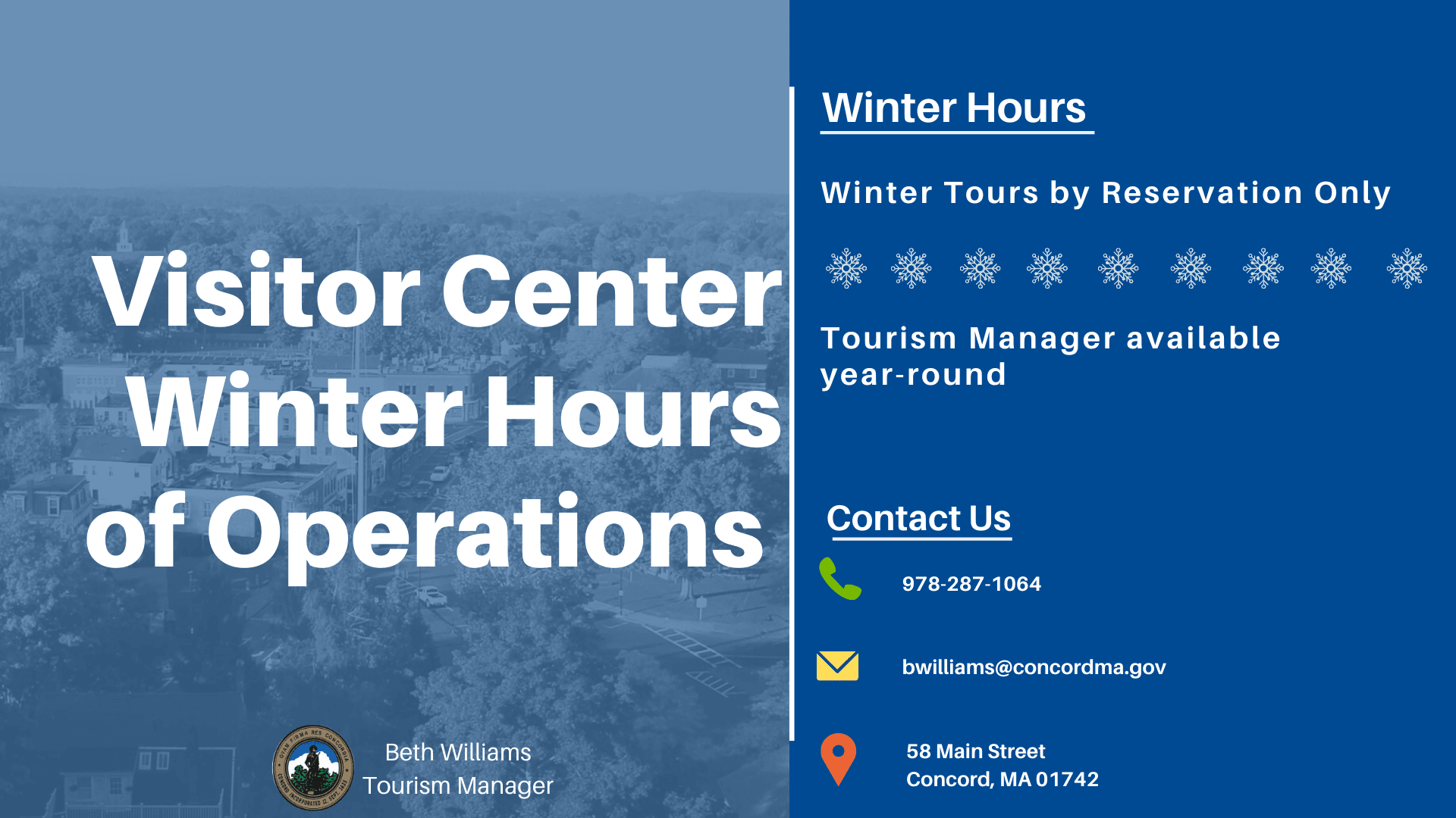 Hours of Operations and Contact Information ONLY Winter