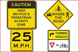 4 signs of Caution Signs for Biking and Driving
