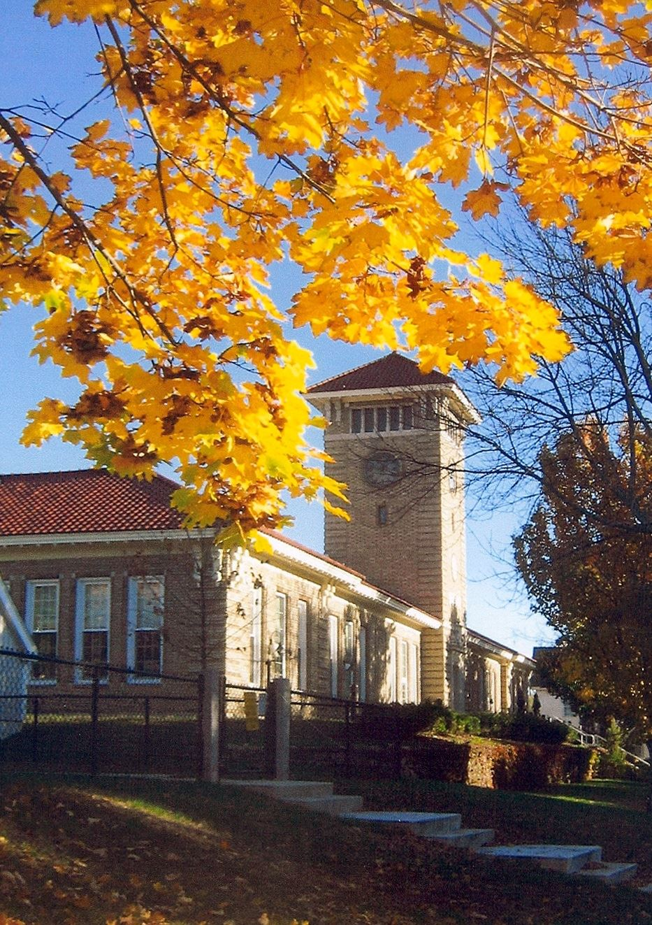 Photograph of the Harvey Wheeler Community Center with Golden Fall Color
