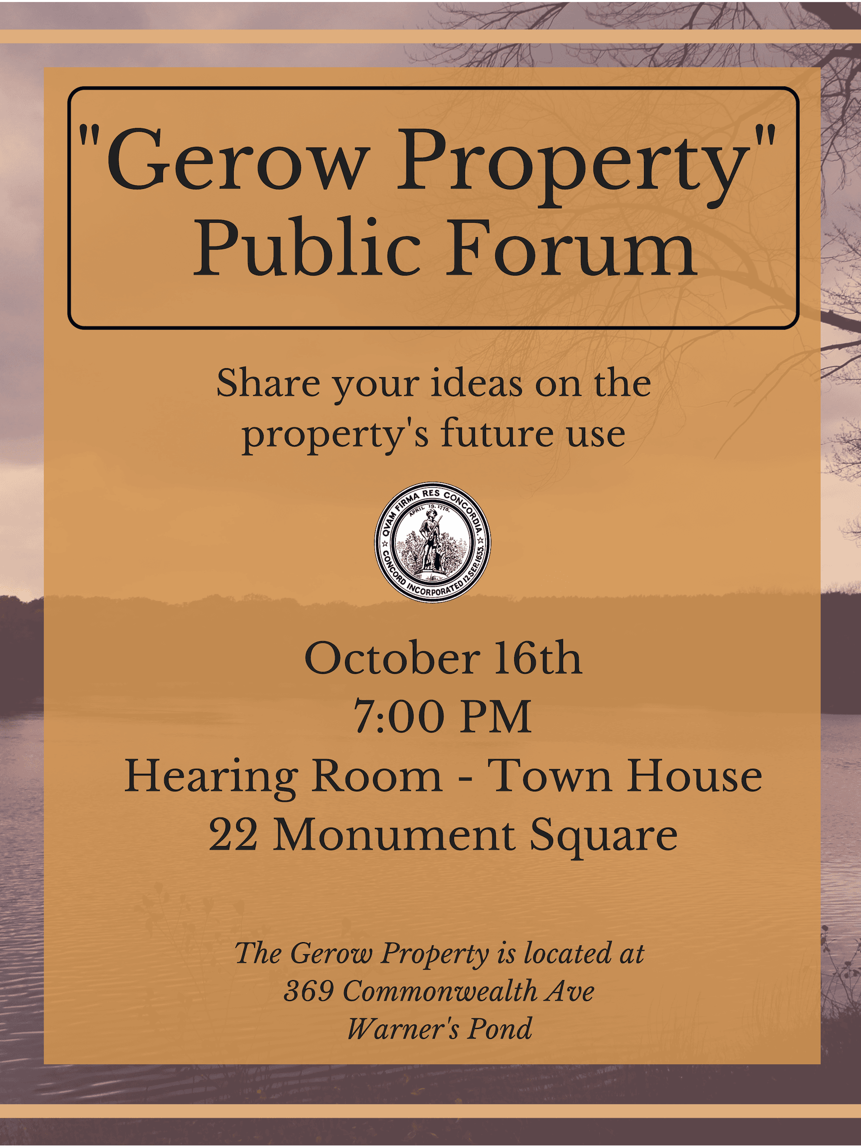 Public Forum for Gerow Property Oct 16th at 7pm
