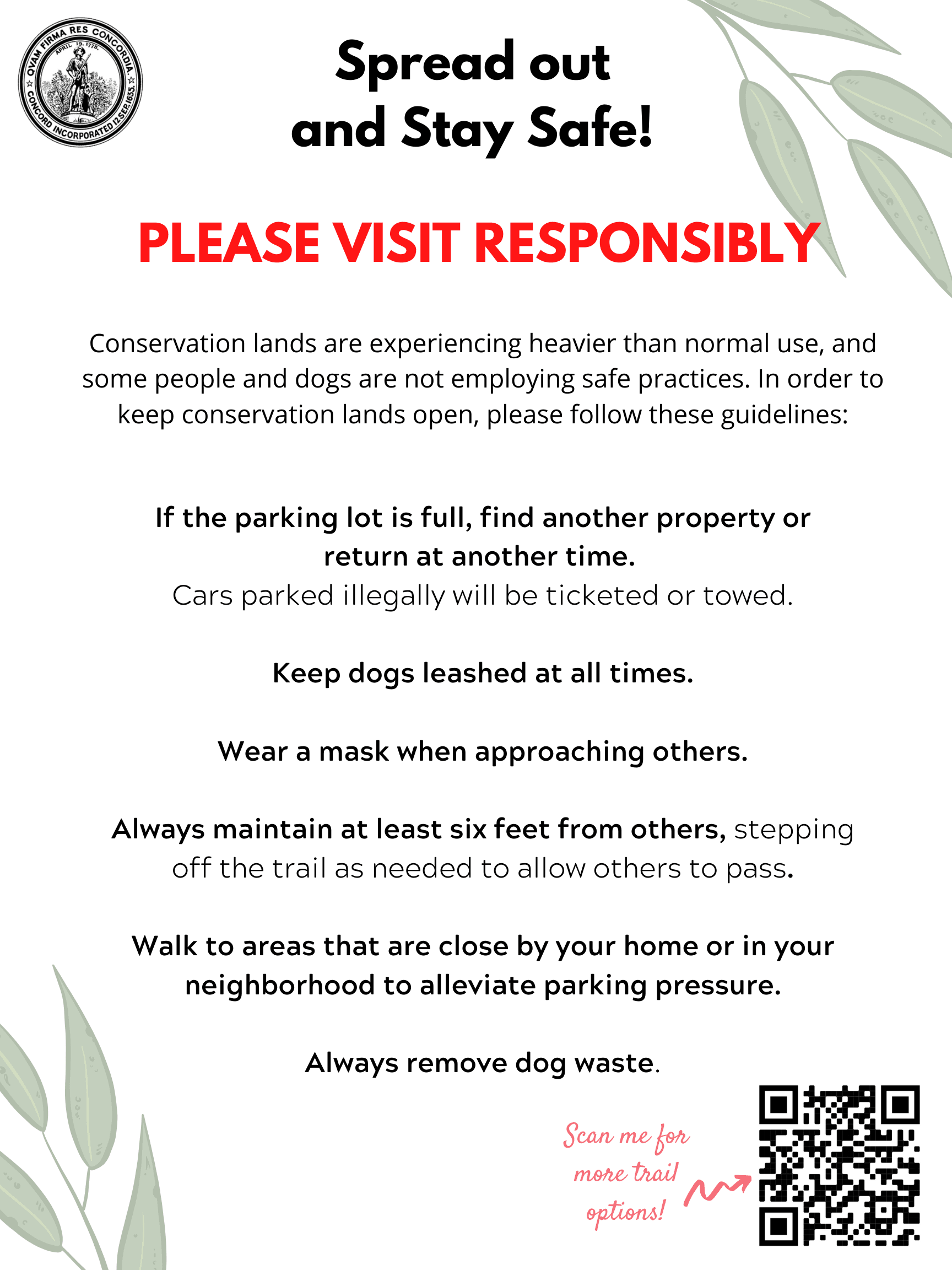 Spread out and Stay Safe! PLEASE VISIT RESPONSIBLY-2
