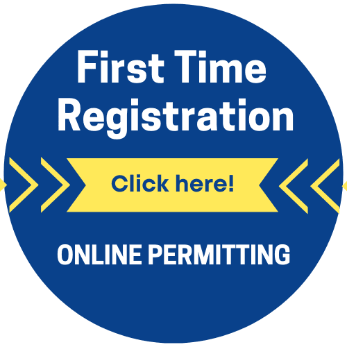 First Time registration button Opens in new window
